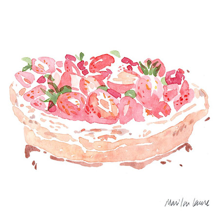 aquarelle gâteau aux fraises